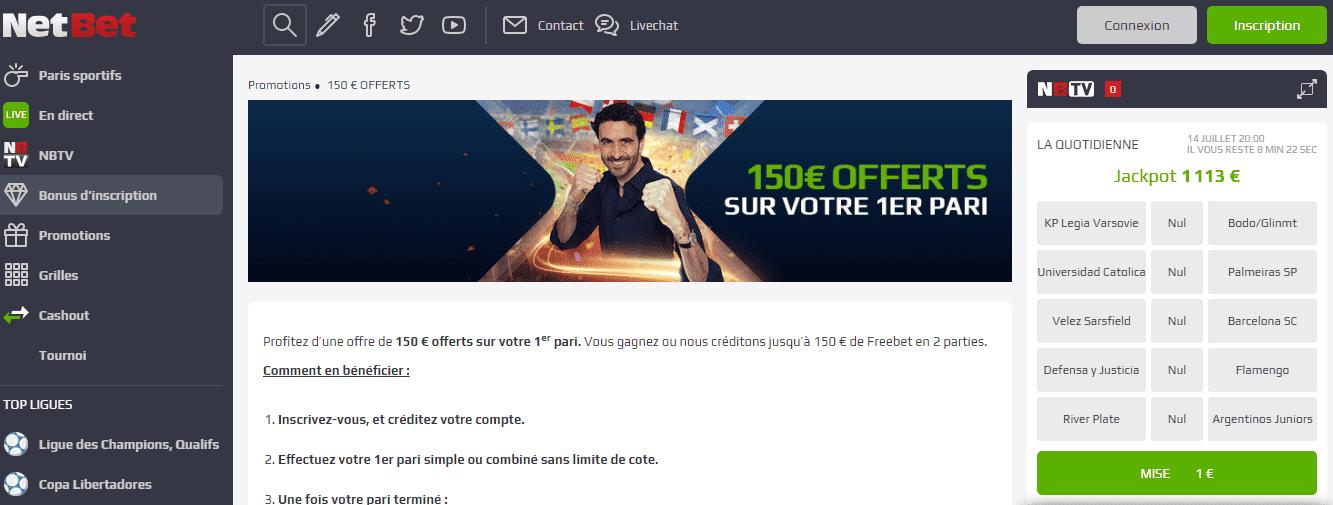 NetBet Bienvenue bonus