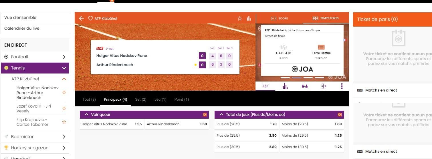 Joabet Paris en direct En direct Tennis