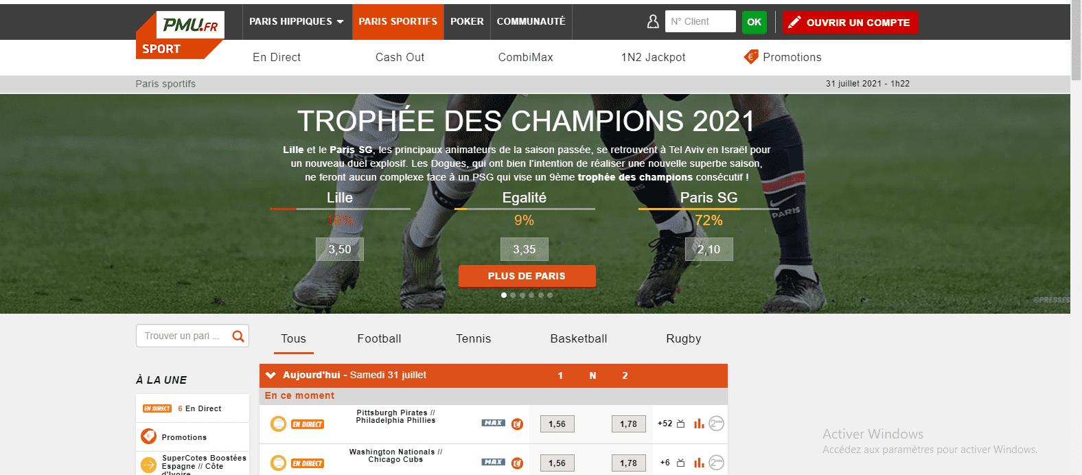 PMU Sport ergonomie Paris sportifs
