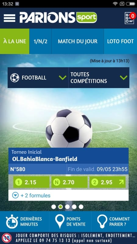 Parions Sport Application mobile football