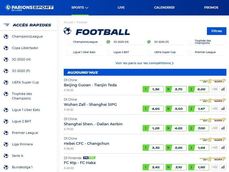 Parions Sport L'ergonomie du site Football